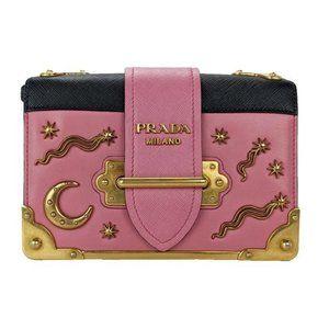 Prada Cahier Pink Moon Stars Astrology Small Bag